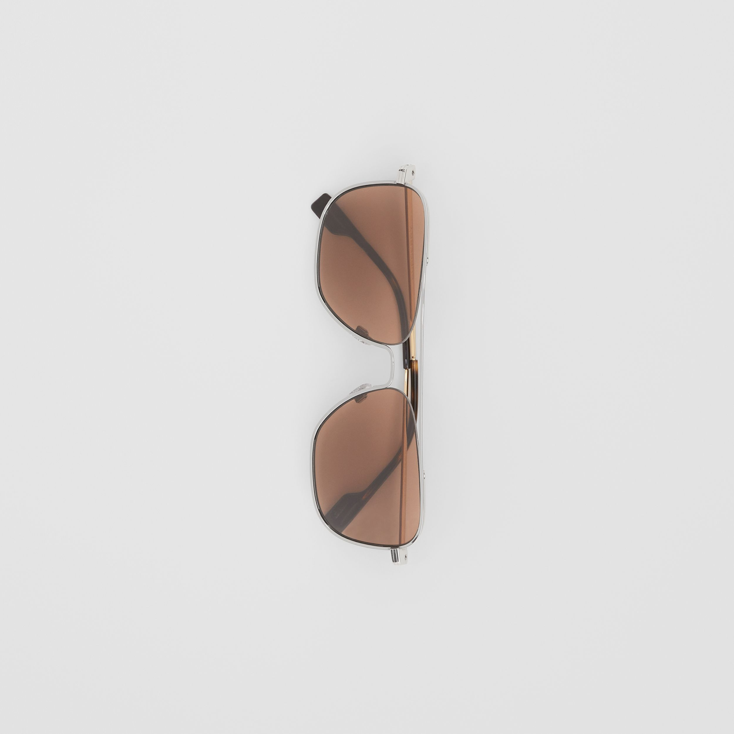 Top Bar Detail Square Frame Sunglasses in Gold - Men | Burberry - 4