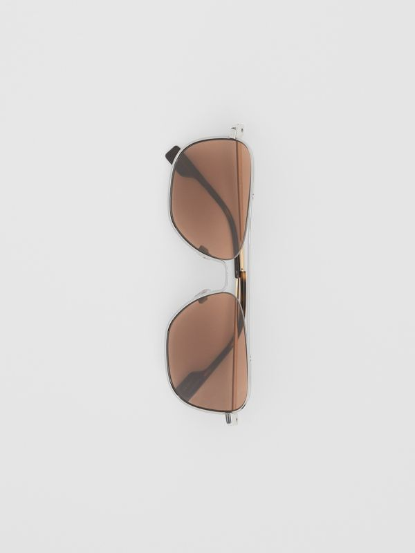 Top Bar Detail Square Frame Sunglasses in Gold - Men | Burberry Canada - cell image 3