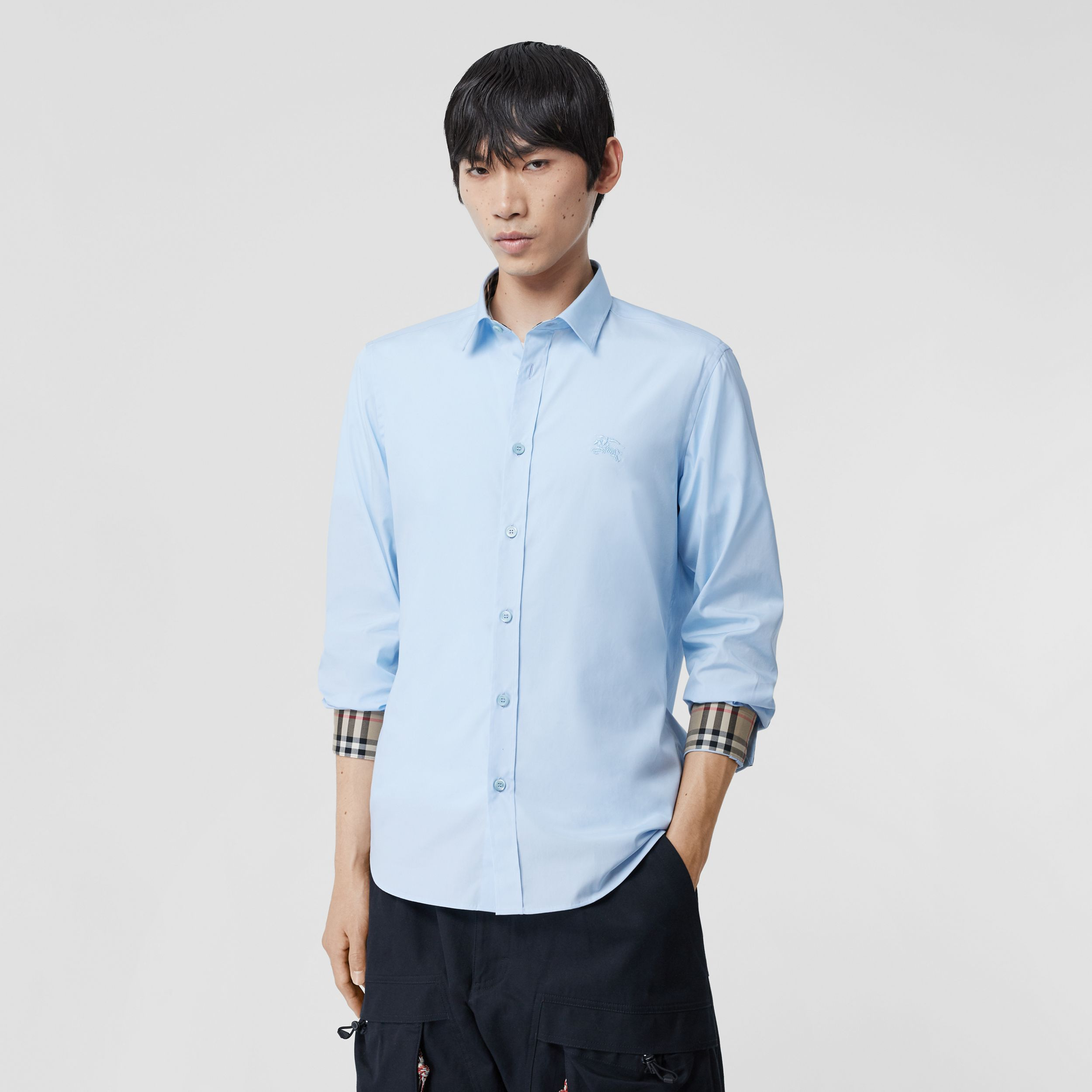 Classic Fit Embroidered EKD Cotton Oxford Shirt in Sky Blue - Men | Burberry - 1