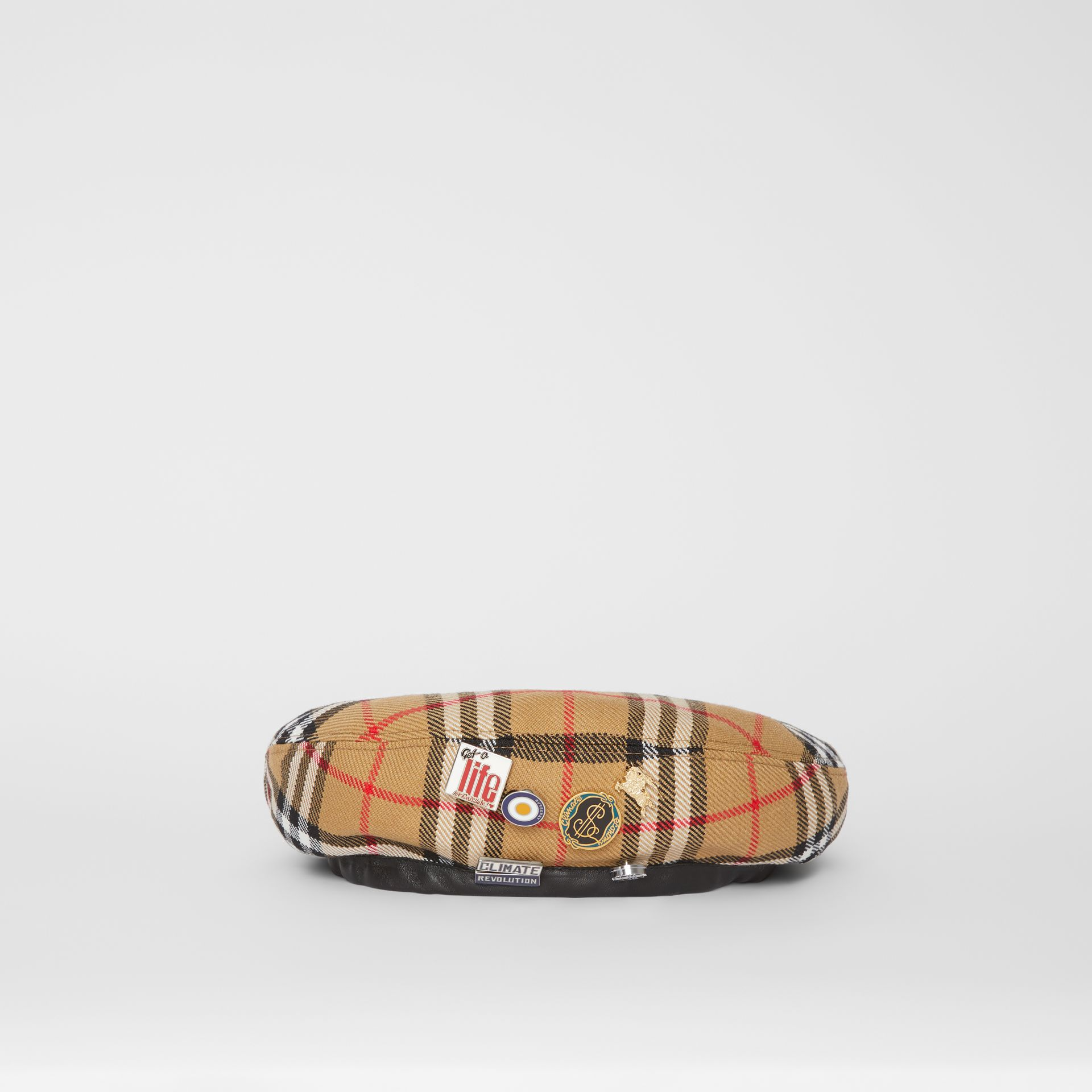 Pin Detail Vintage Check Wool Beret in Antique Yellow | Burberry Singapore - gallery image 7