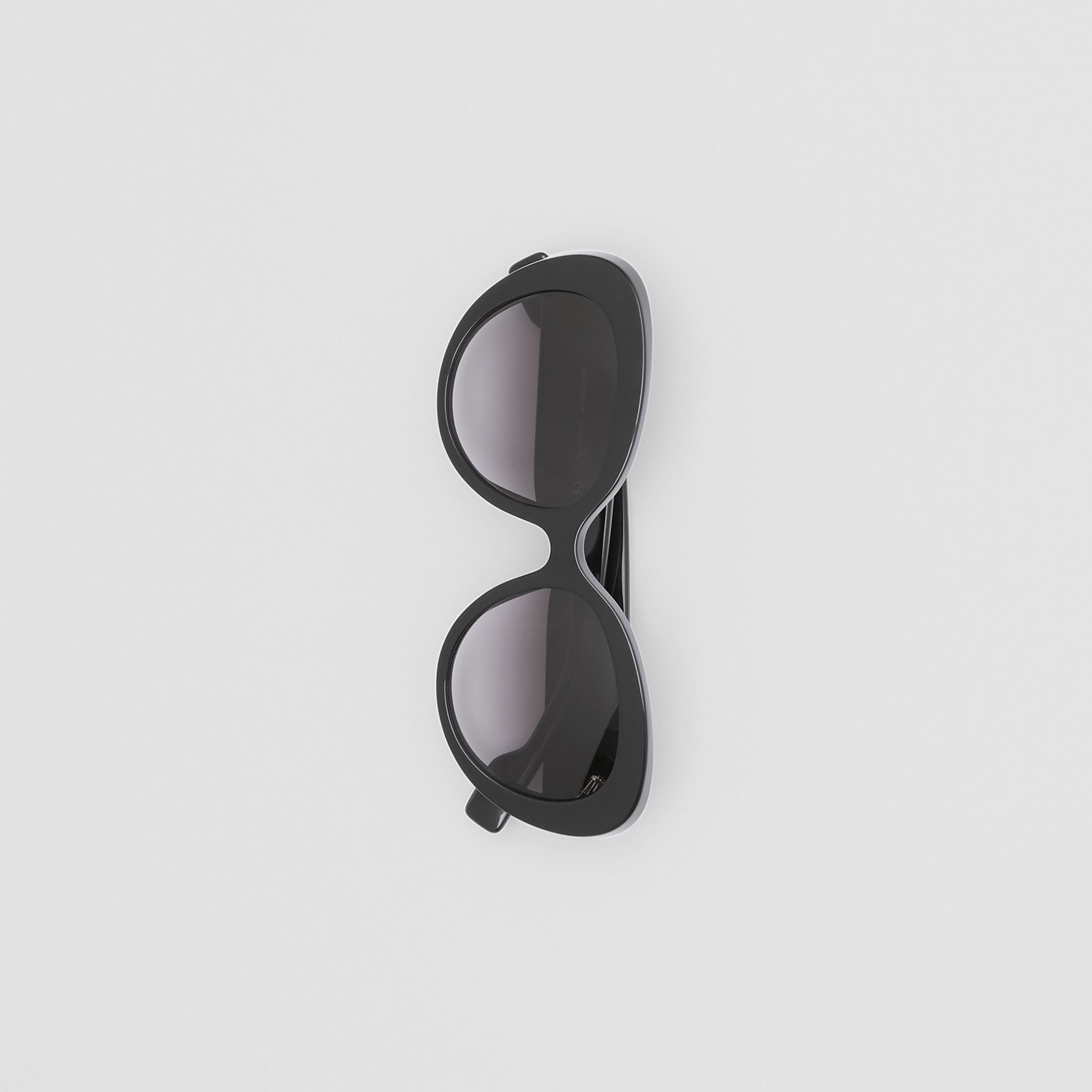Monogram Motif Cat-eye Frame Sunglasses in Black - Women | Burberry - 3