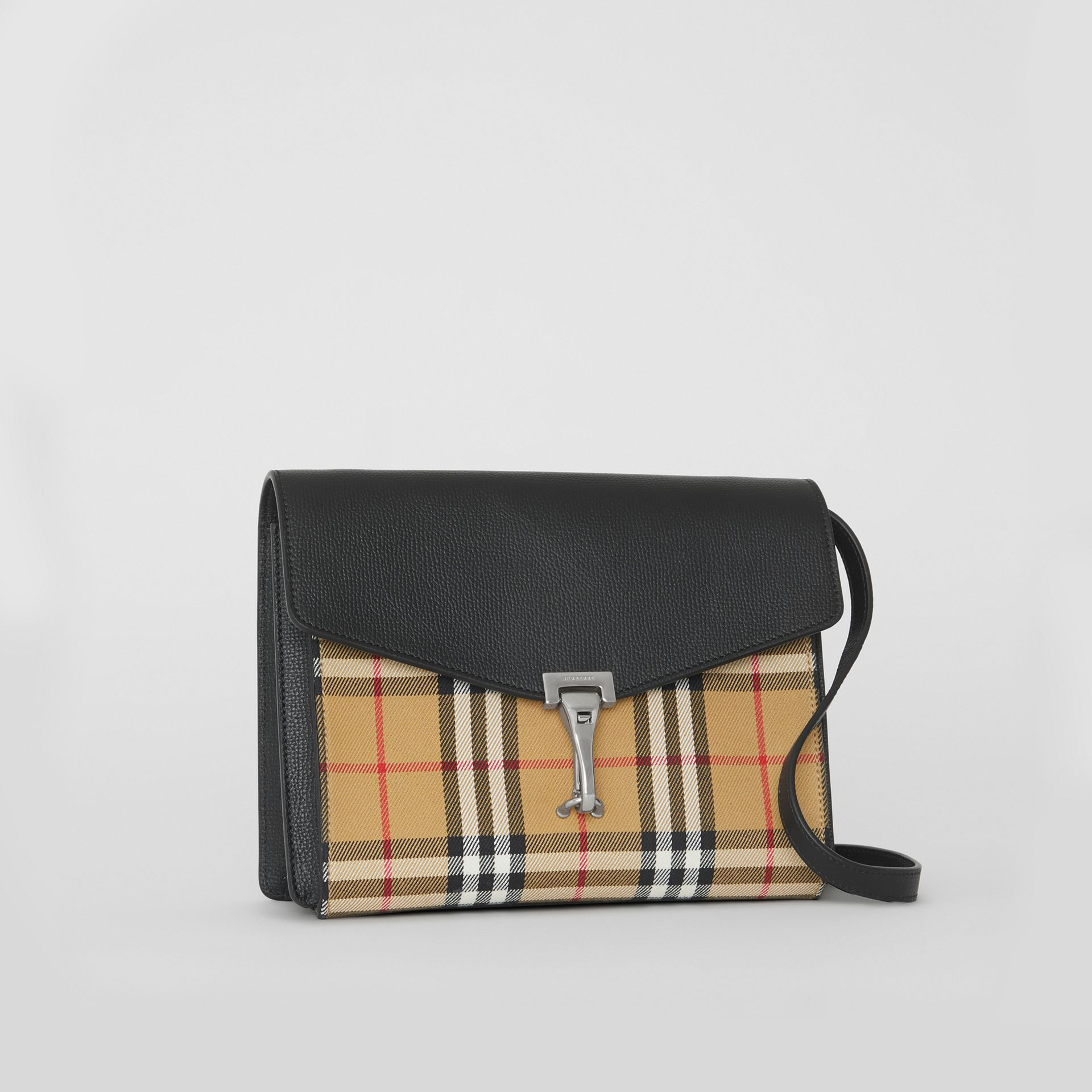 Small Vintage Check and Leather Crossbody Bag in Black - Women | Burberry Australia - gallery image 6