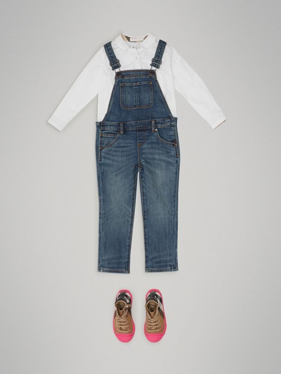 Stretch Denim Dungarees in Mid Indigo - Girl | Burberry - cell image 2