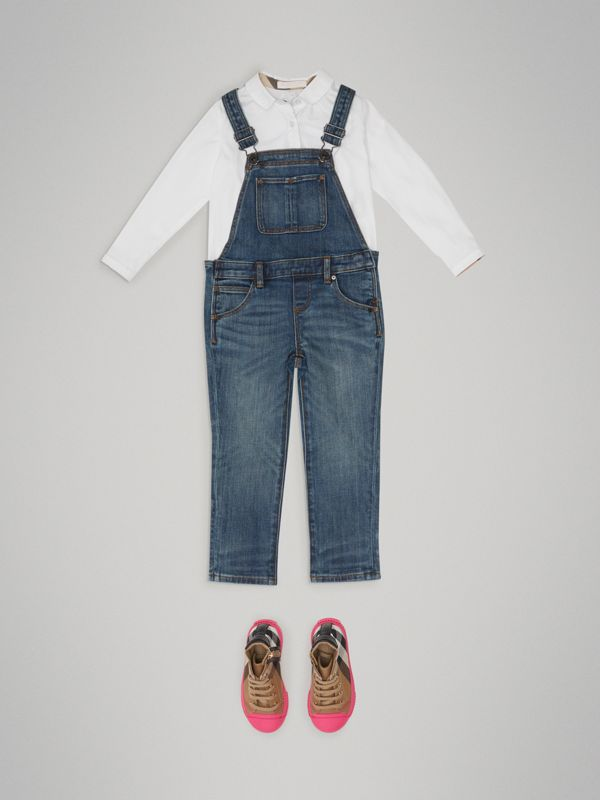 Stretch Denim Dungarees in Mid Indigo | Burberry - cell image 2