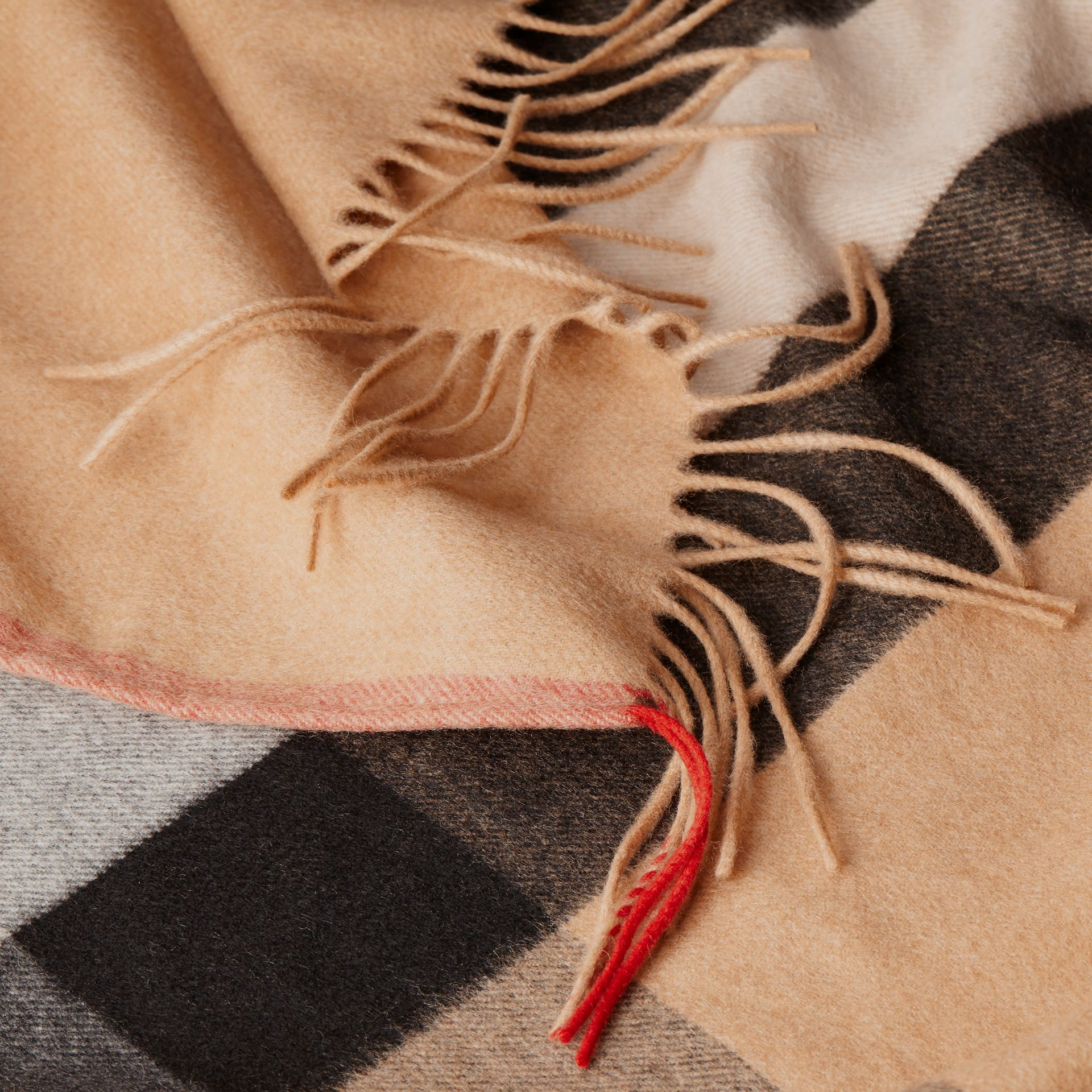 Camel Check Cashmere Poncho - gallery image 5