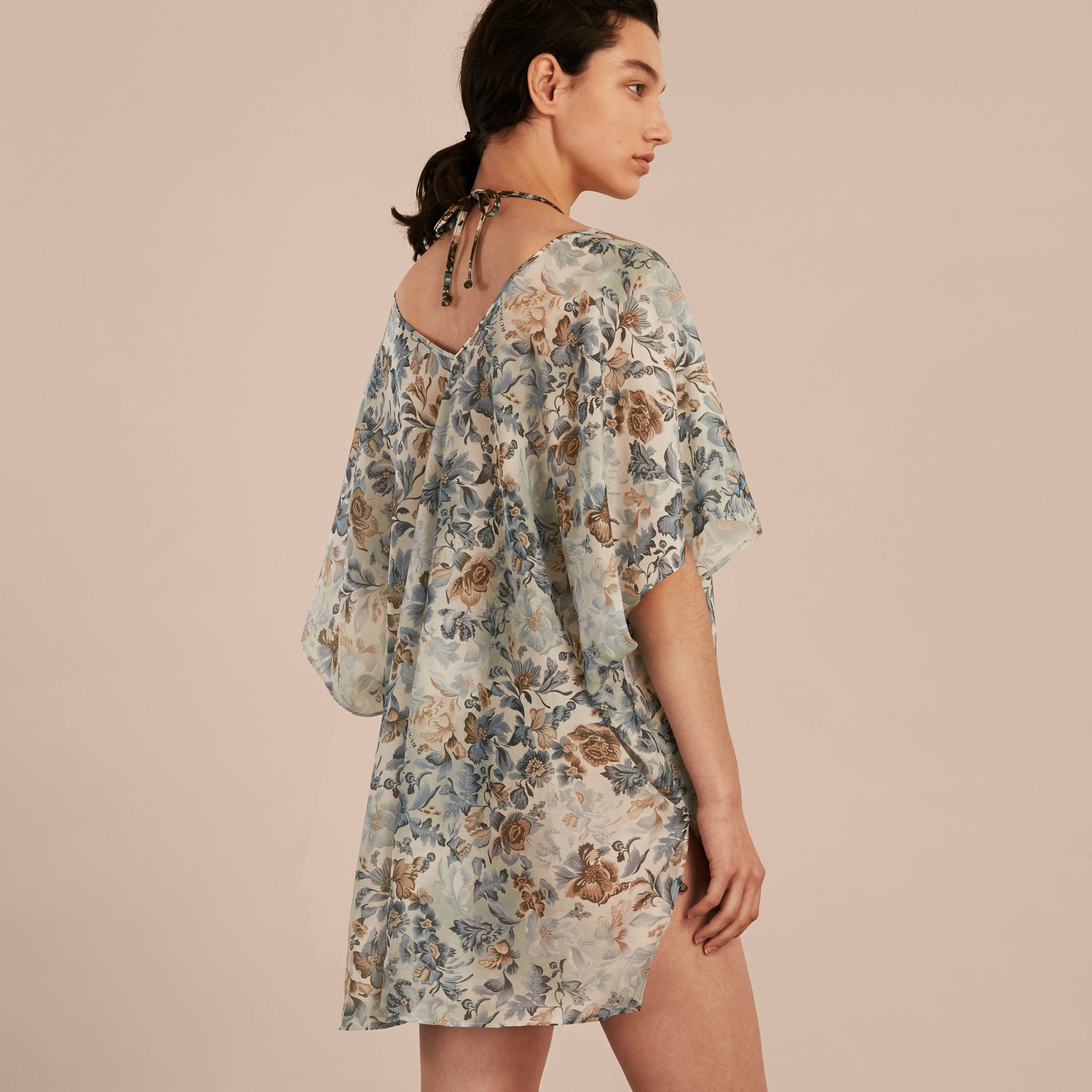 Garden Floral Cotton Silk Swimwear Cover-up - gallery image 3