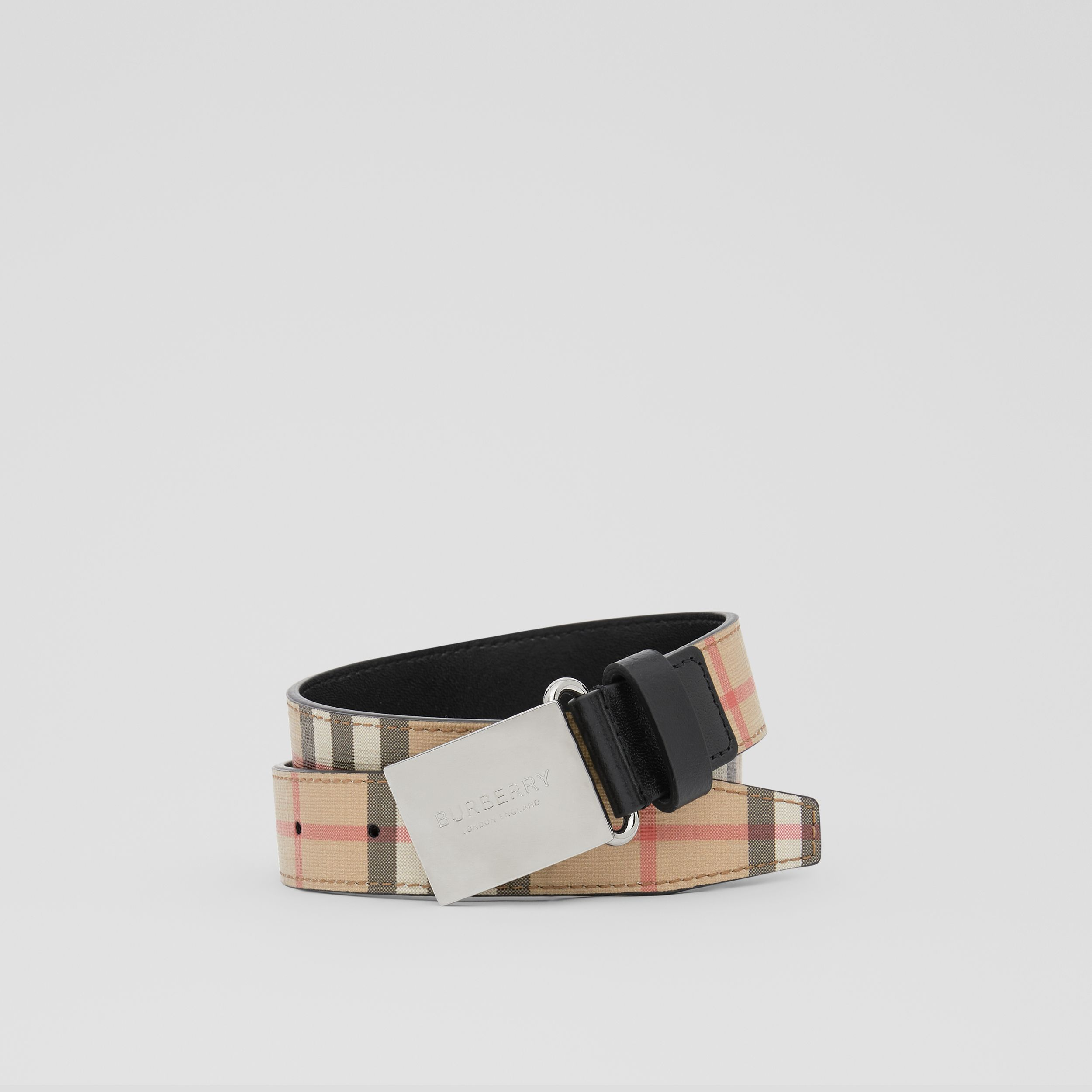 Plaque Buckle Vintage Check E-canvas Belt in Archive Beige - Children | Burberry - 1