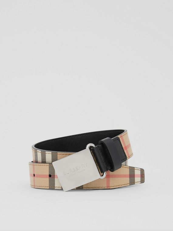 Plaque Buckle Vintage Check E-canvas Belt in Archive Beige