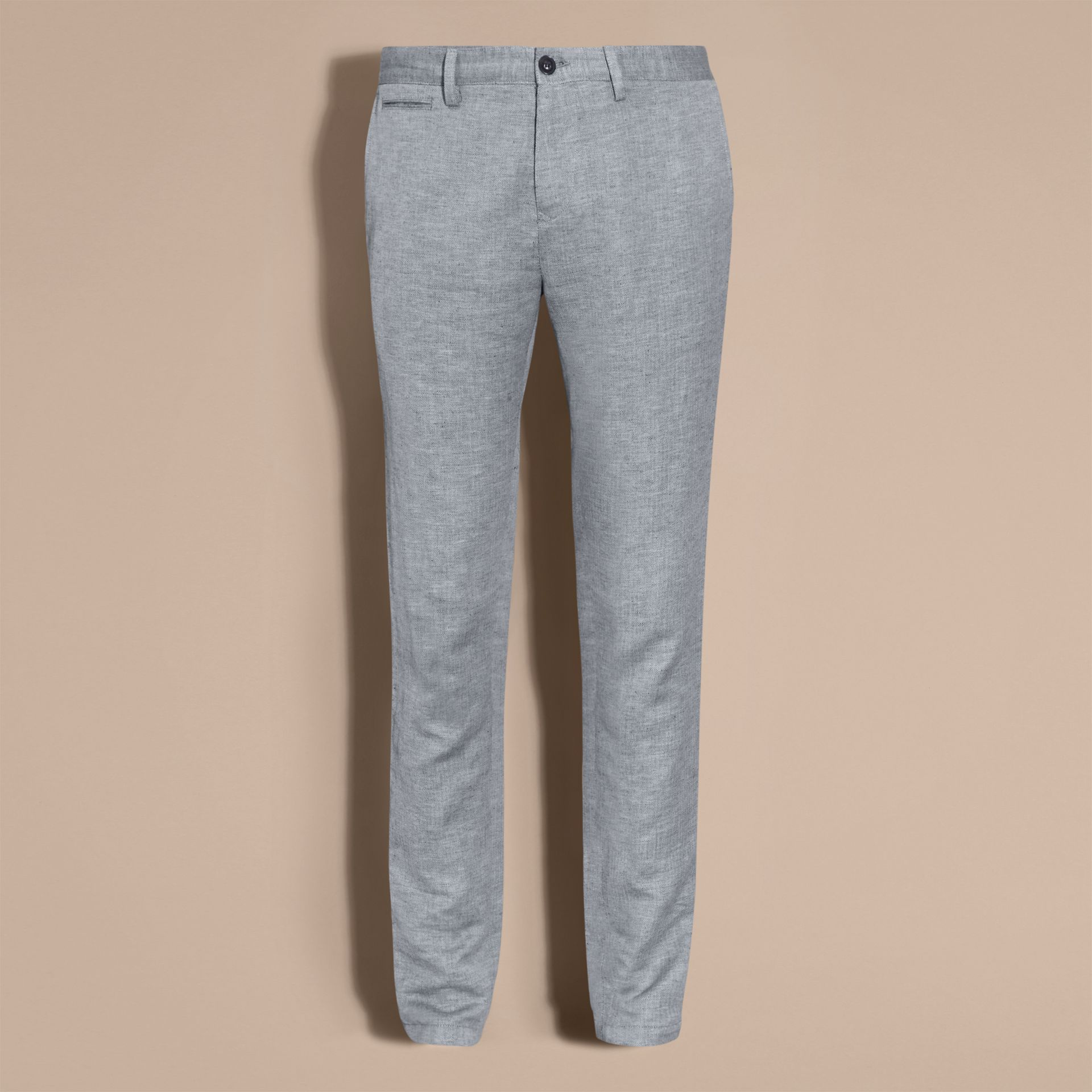 Pale blue Linen Cotton Chinos - gallery image 4