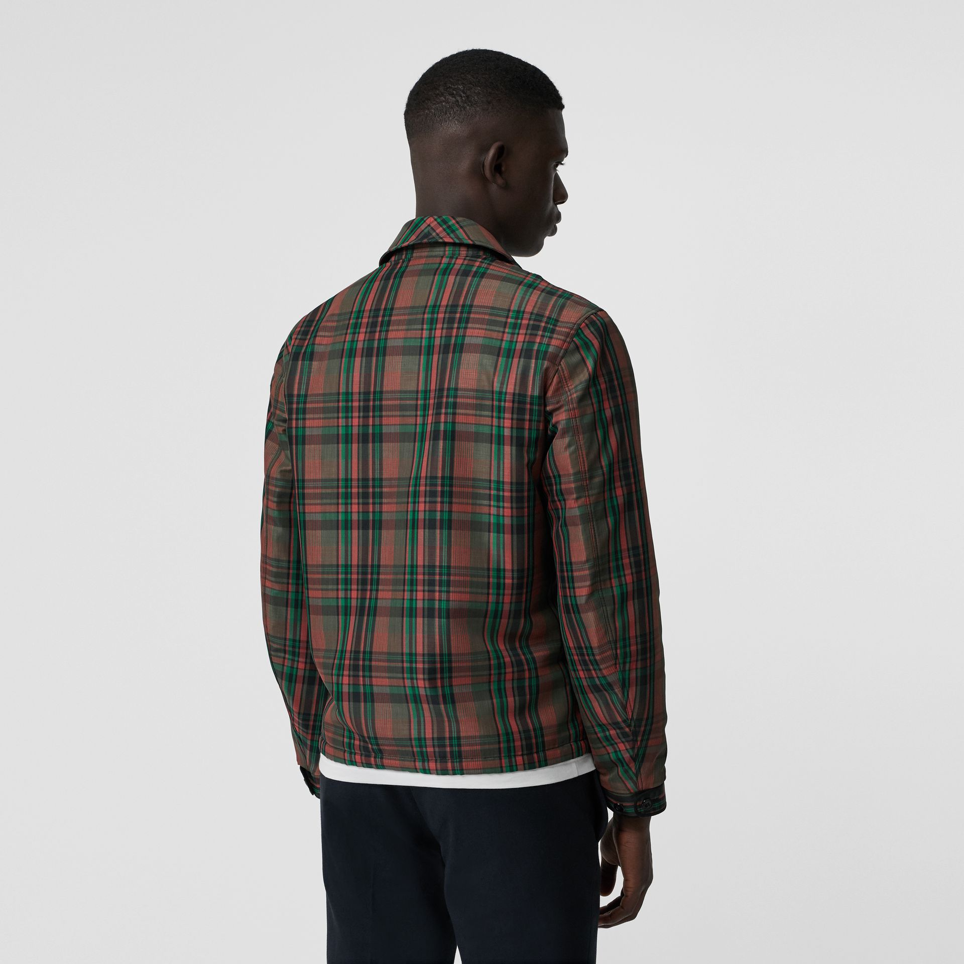 Fleece-lined Check Harrington Jacket in Russet Red - Men | Burberry United Kingdom - gallery image 2