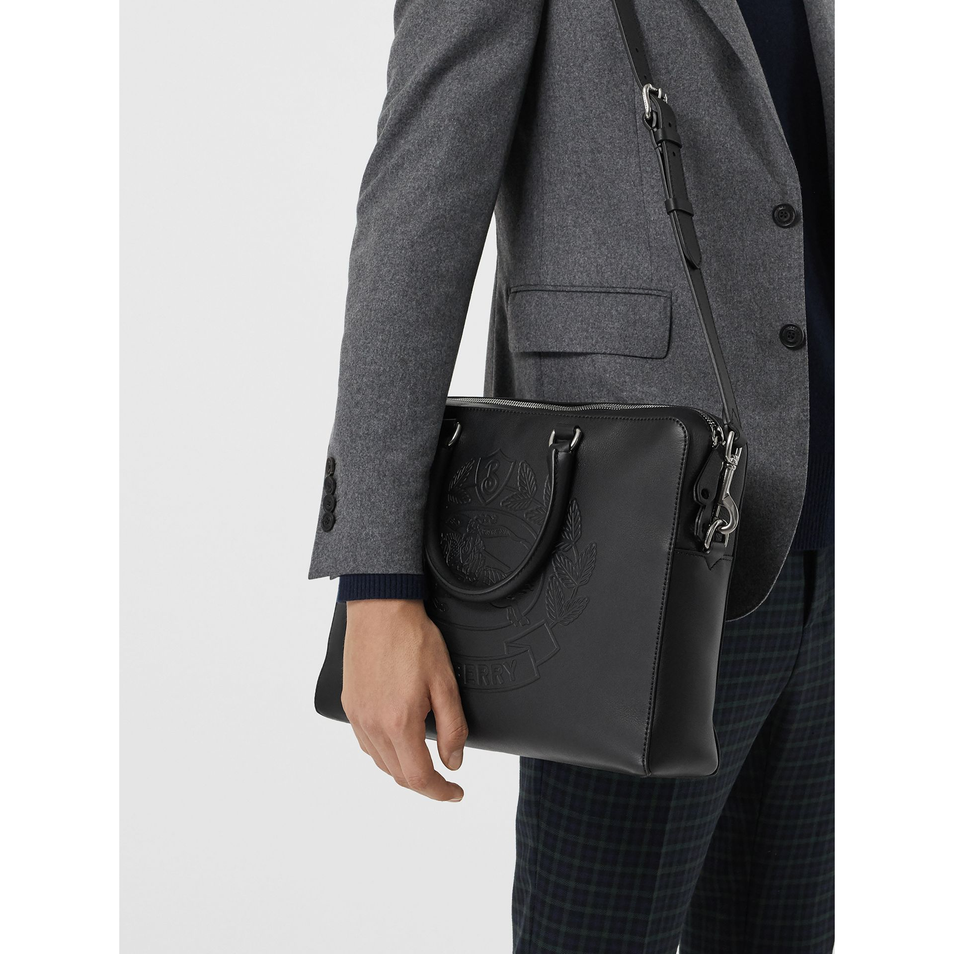 Embossed Crest Leather Briefcase in Black - Men | Burberry United States - gallery image 3