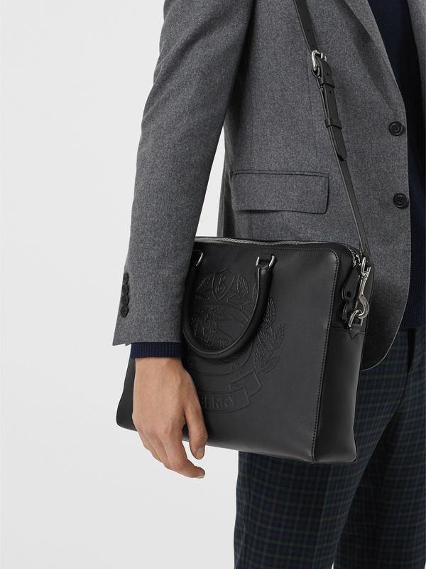 Embossed Crest Leather Briefcase in Black - Men | Burberry - cell image 3
