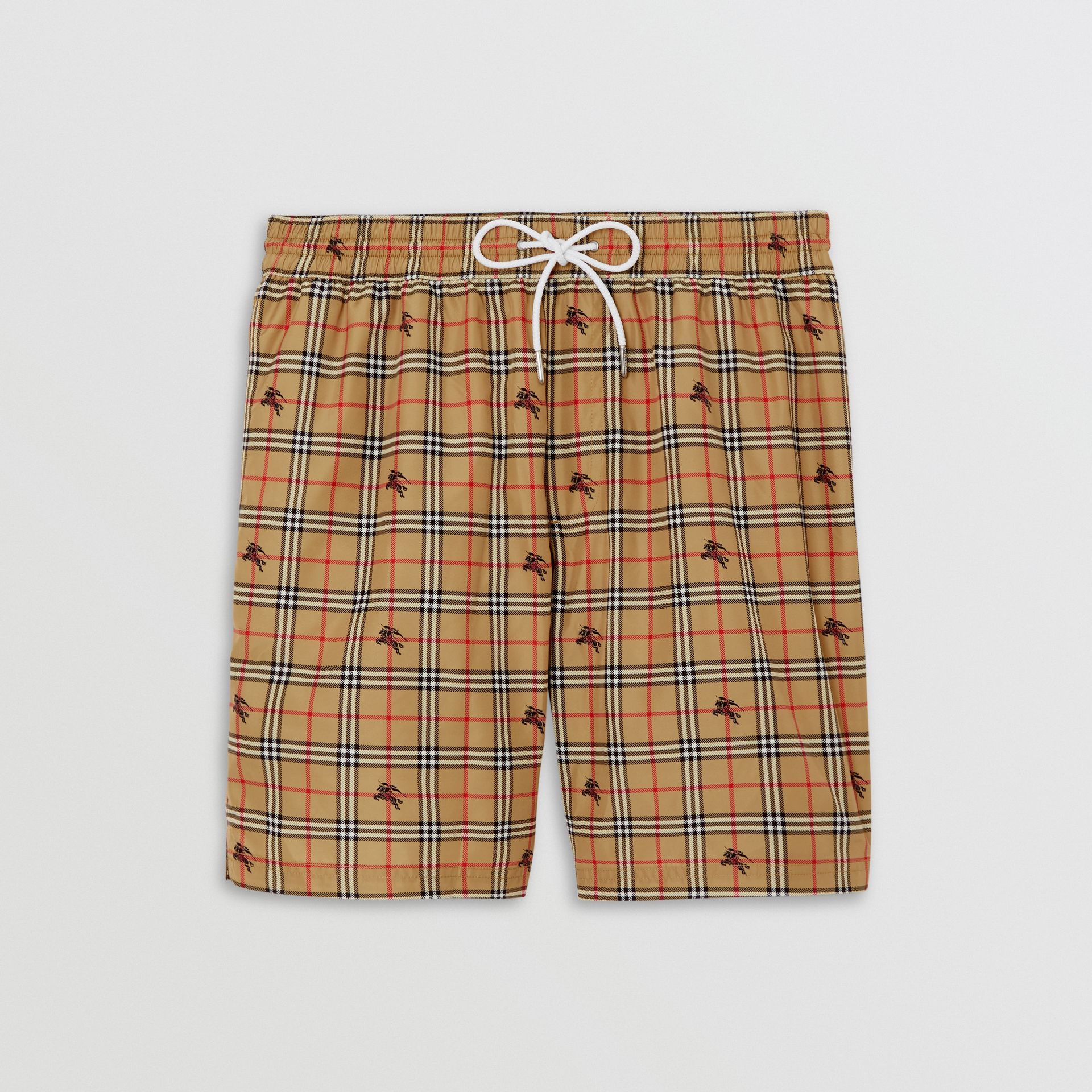 Equestrian Knight Check Drawcord Swim Shorts in Camel - Men | Burberry - gallery image 3