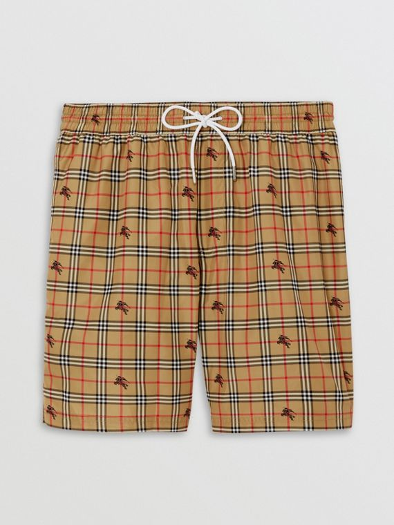 Equestrian Knight Check Drawcord Swim Shorts in Camel