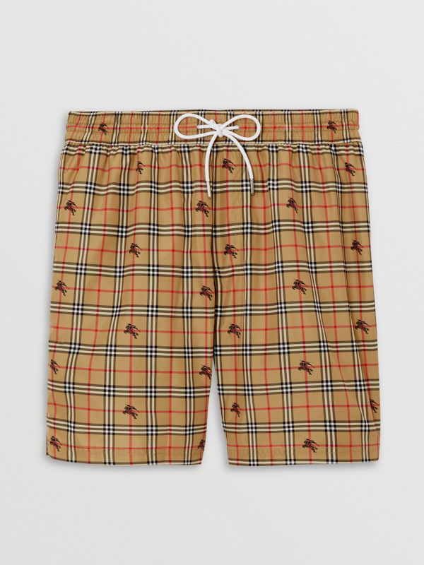 Equestrian Knight Check Drawcord Swim Shorts in Camel - Men | Burberry - cell image 3