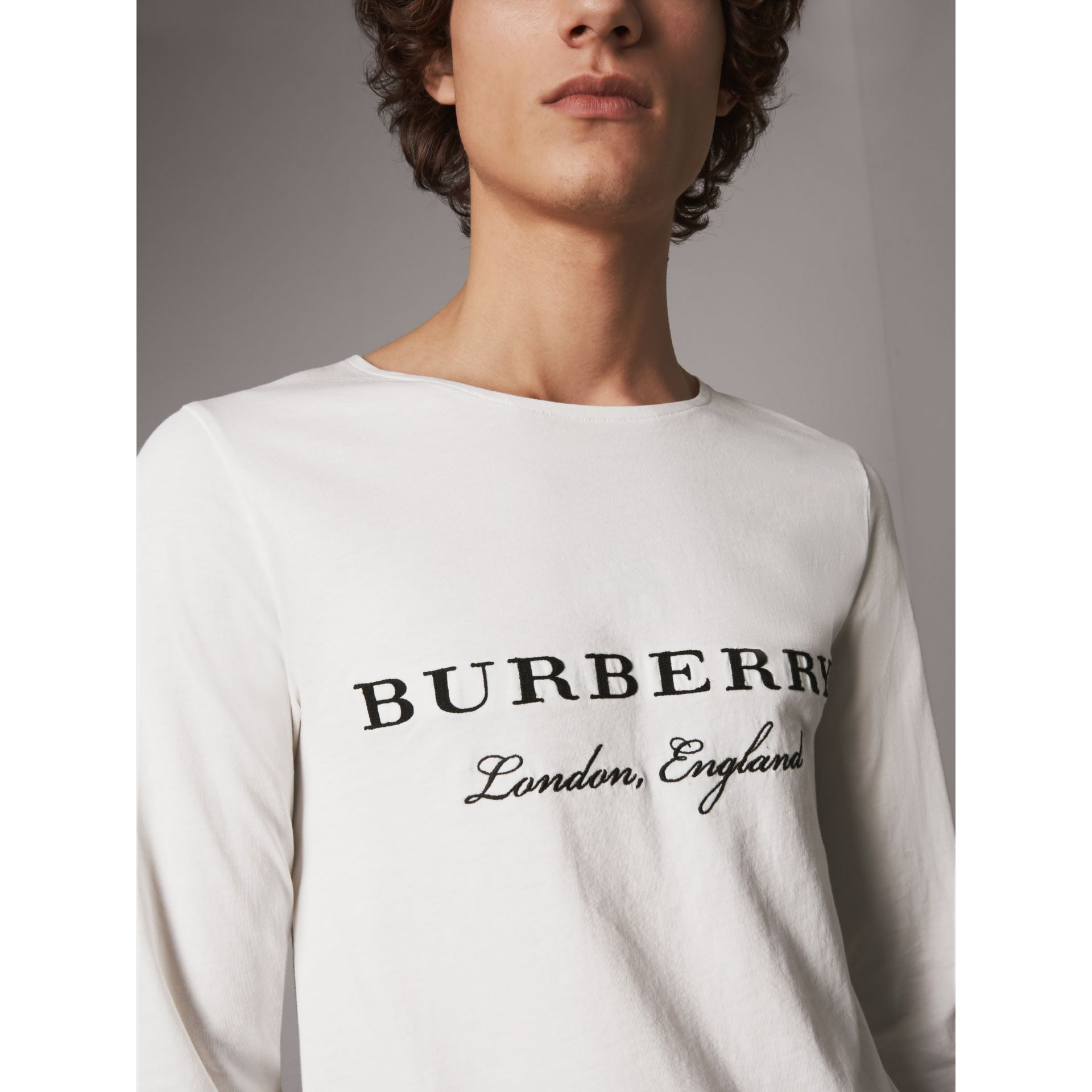 Long-sleeve Embroidered Cotton Top in Off White - Men | Burberry - gallery image 1