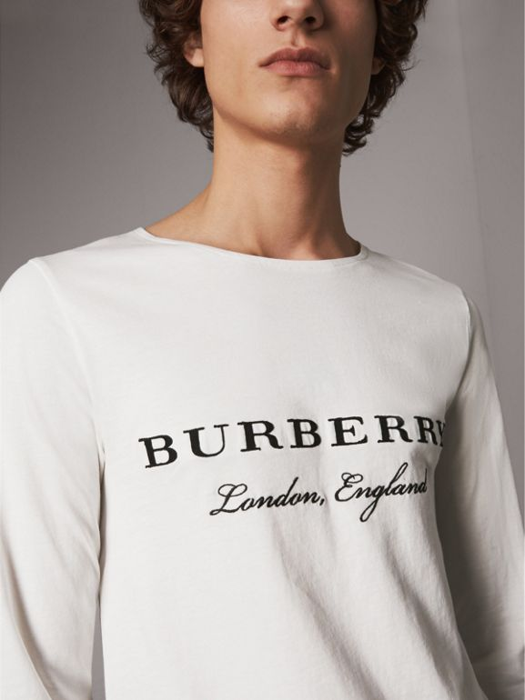Long-sleeve Embroidered Cotton Top in Off White - Men | Burberry United Kingdom - cell image 1