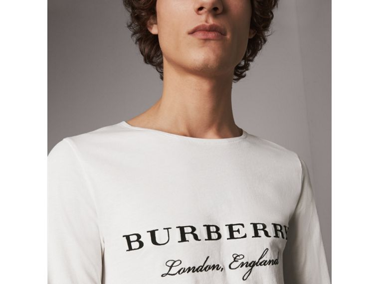 Long-sleeve Embroidered Cotton Top in Off White - Men | Burberry Singapore - cell image 1