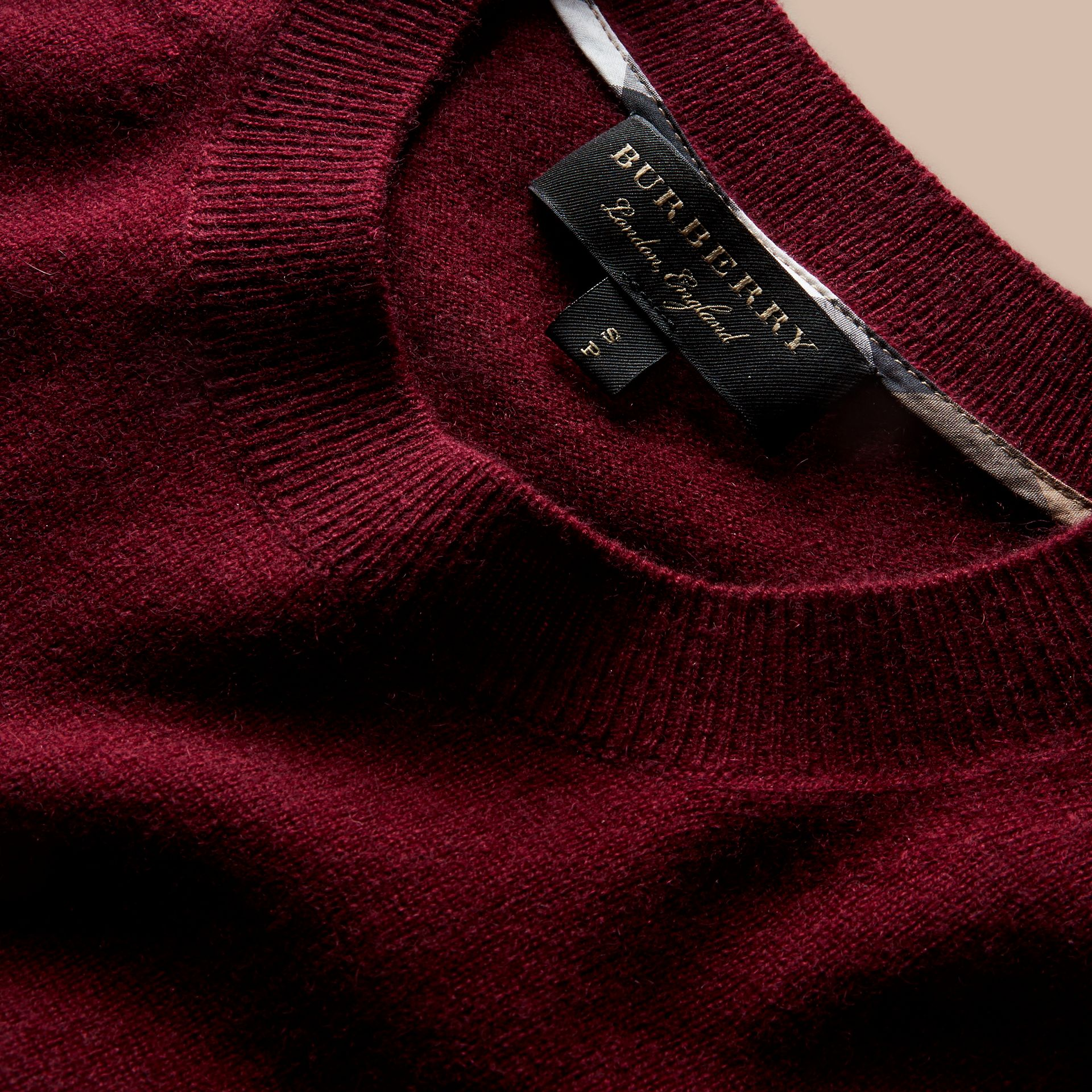 Puff-sleeved Cashmere Sweater in Burgundy - gallery image 2