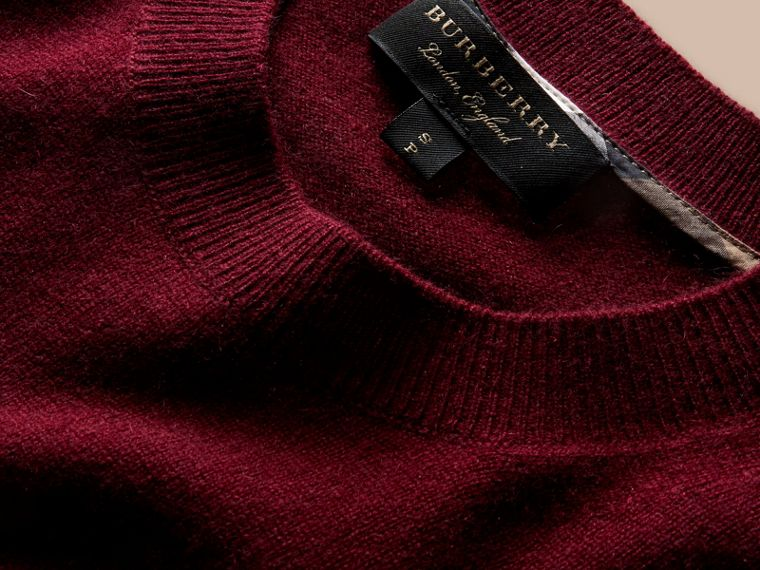 Puff-sleeved Cashmere Sweater in Burgundy - cell image 1