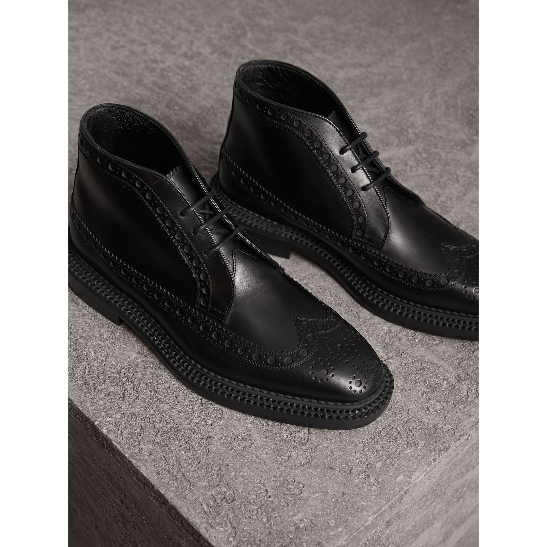 Leather Brogue Boots in Black - Men | Burberry - gallery image 4