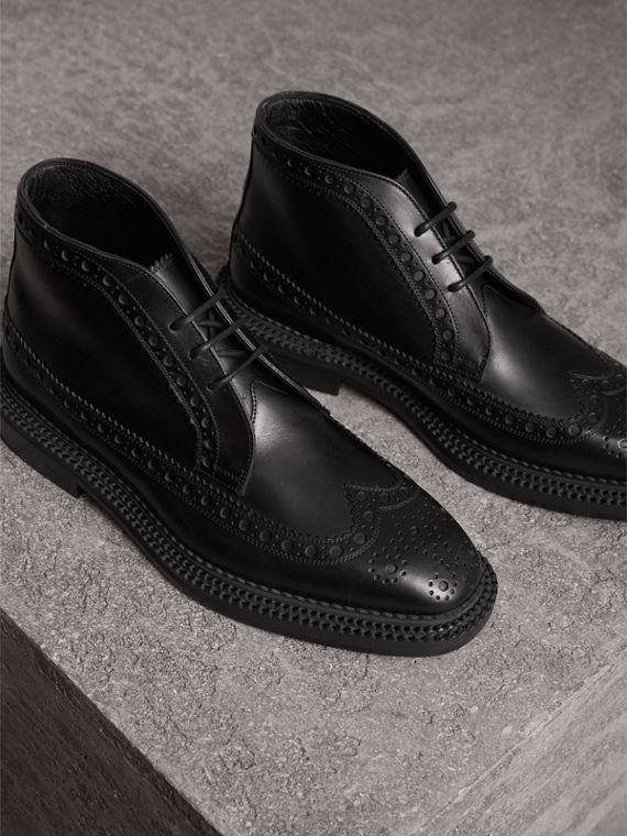 Leather Brogue Boots in Black - Men | Burberry Singapore - cell image 3