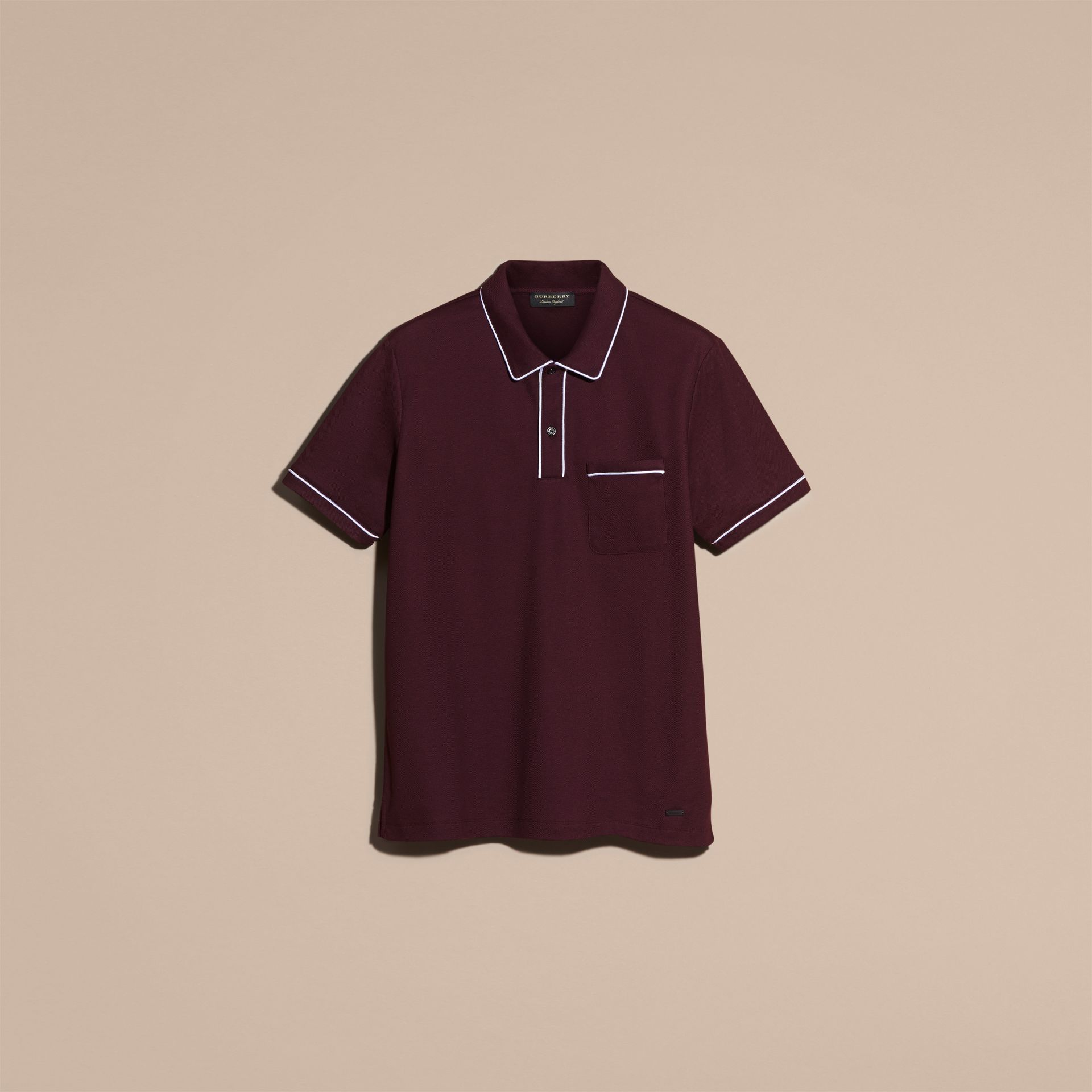 Burgundy Piped Cotton Piqué Polo Shirt Burgundy - gallery image 4