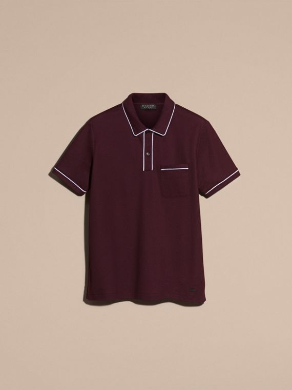 Piped Cotton Piqué Polo Shirt in Burgundy - cell image 3