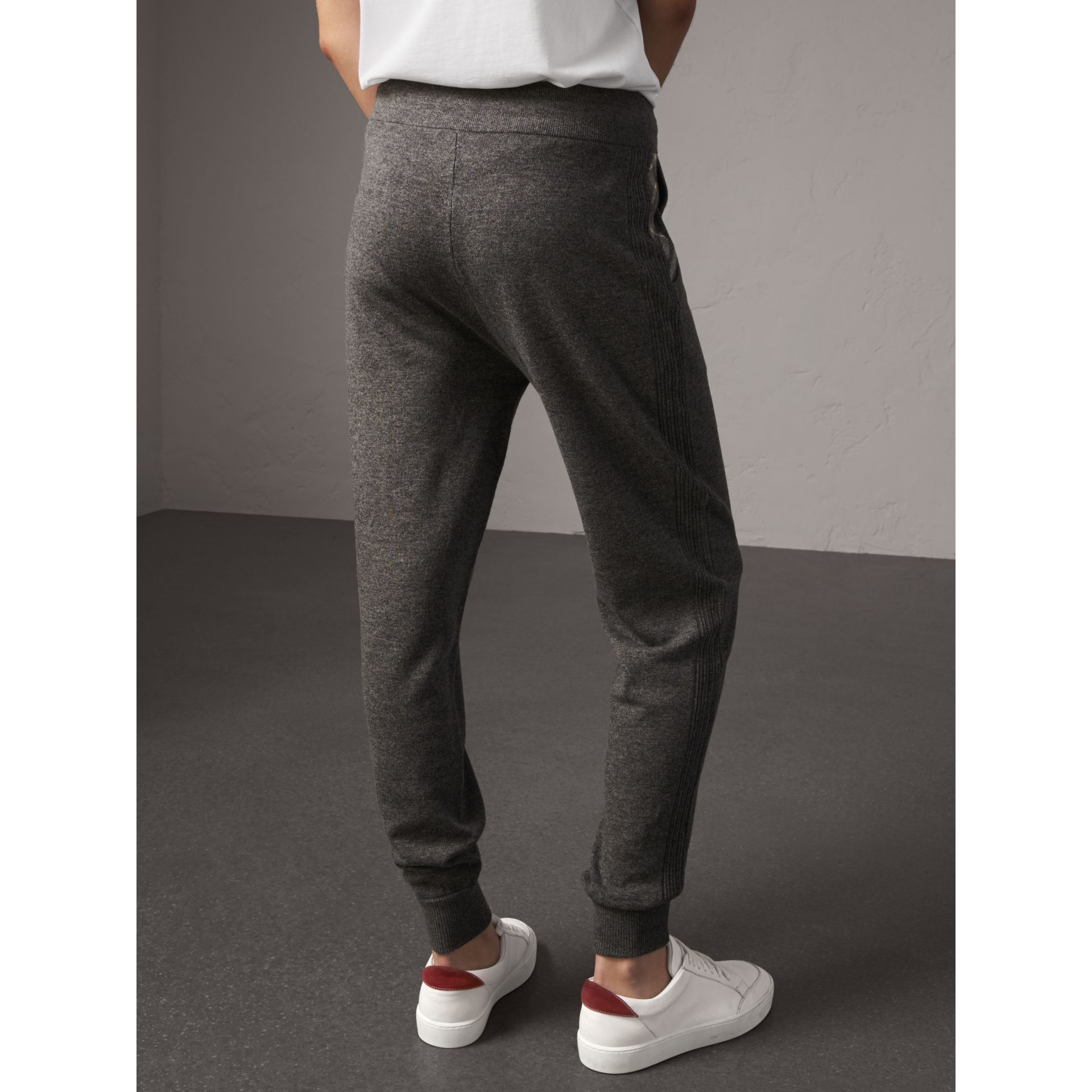 Check Detail Wool Cashmere Sweatpants in Mid Grey Melange - Women | Burberry - gallery image 3
