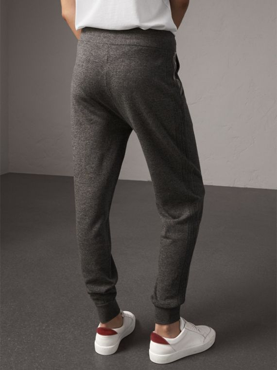 Check Detail Wool Cashmere Sweatpants in Mid Grey Melange - Women | Burberry - cell image 2