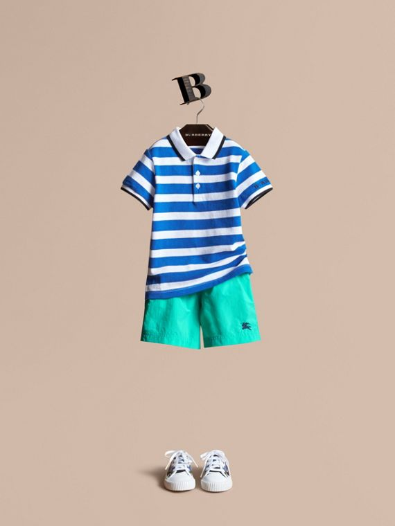 Striped Cotton Polo Shirt Cerulean Blue