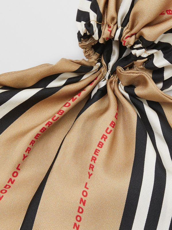 Icon Stripe Print Silk Hair Scarf in Archive Beige - Women   Burberry United States - cell image 3