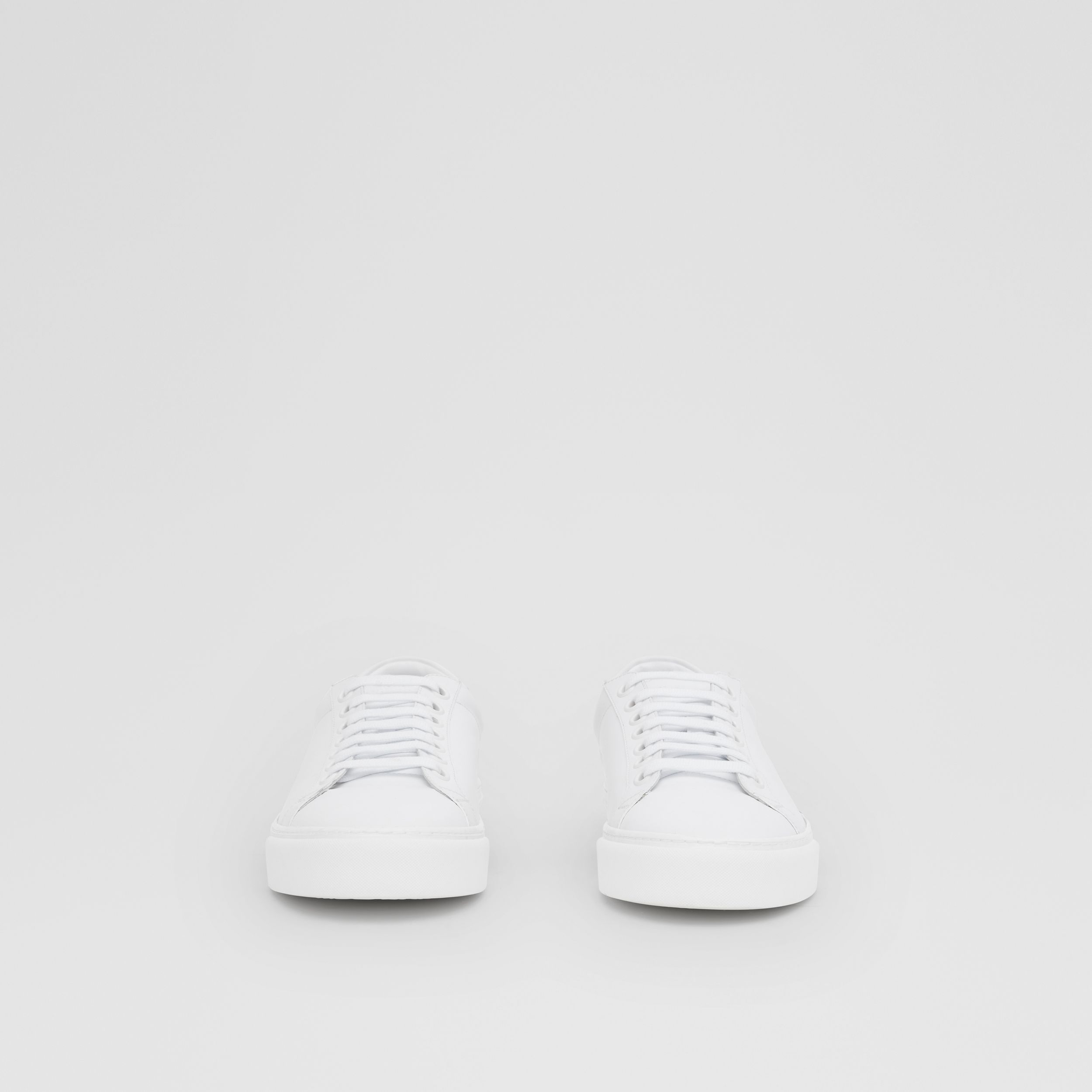 Bio-based Sole Leather Sneakers in Optic White - Men | Burberry - 4