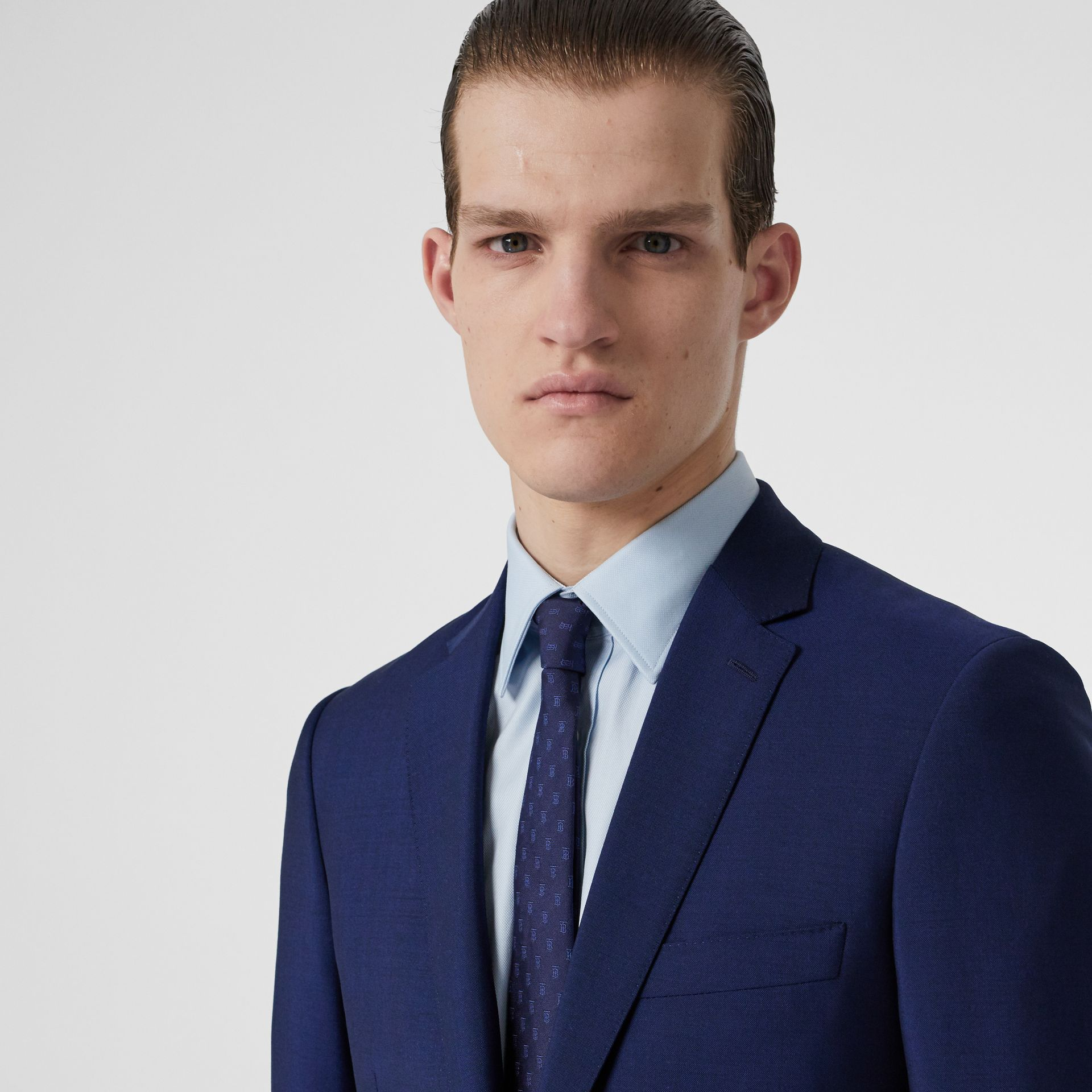 Slim Fit Wool Mohair Suit in Navy - Men | Burberry Singapore - gallery image 1