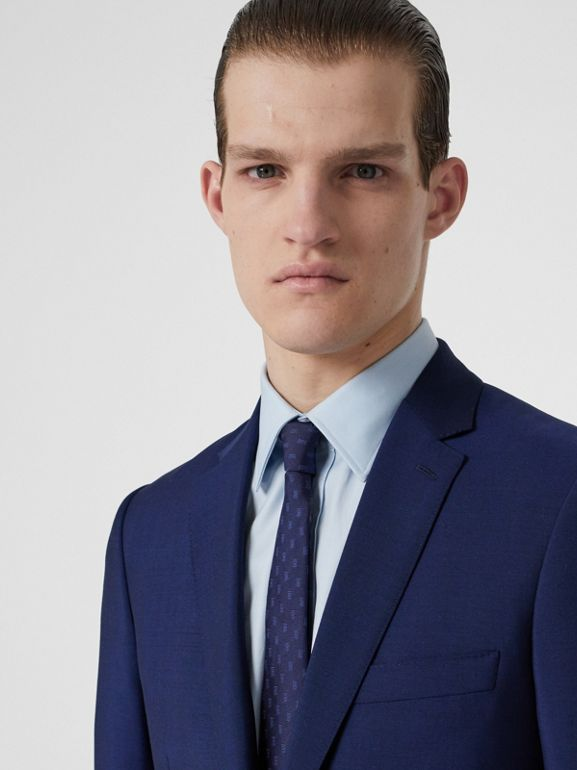 Slim Fit Wool Mohair Suit in Navy - Men | Burberry - cell image 1