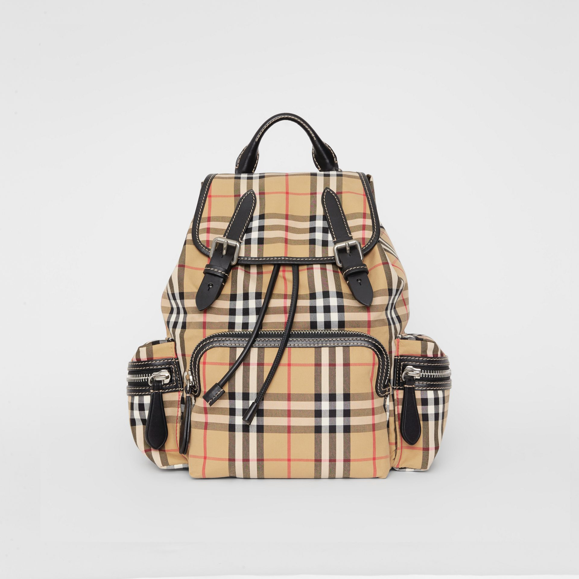The Medium Rucksack in Vintage Check Cotton Canvas in Antique Yellow - Women | Burberry - gallery image 0