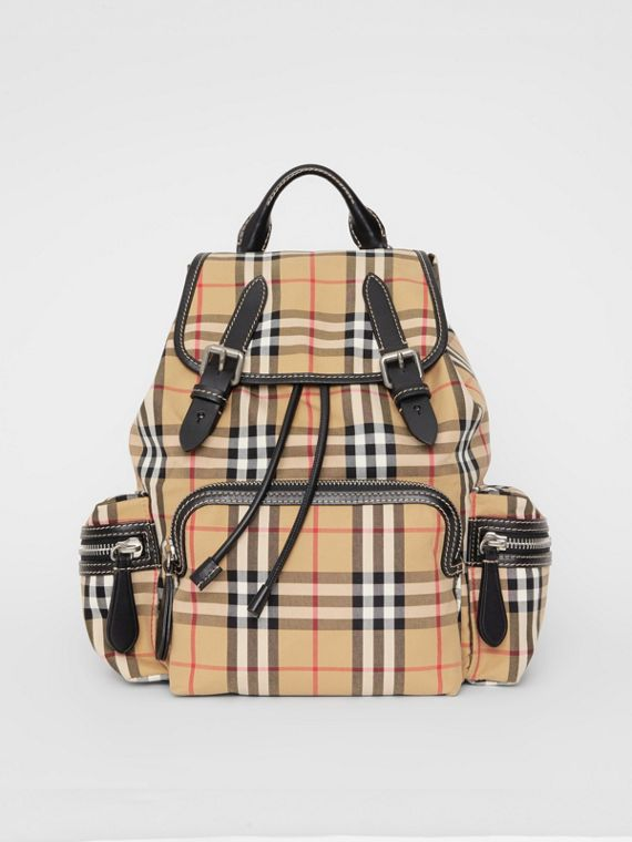 Sac The Rucksack moyen en toile de coton à motif Vintage check (Jaune Antique)