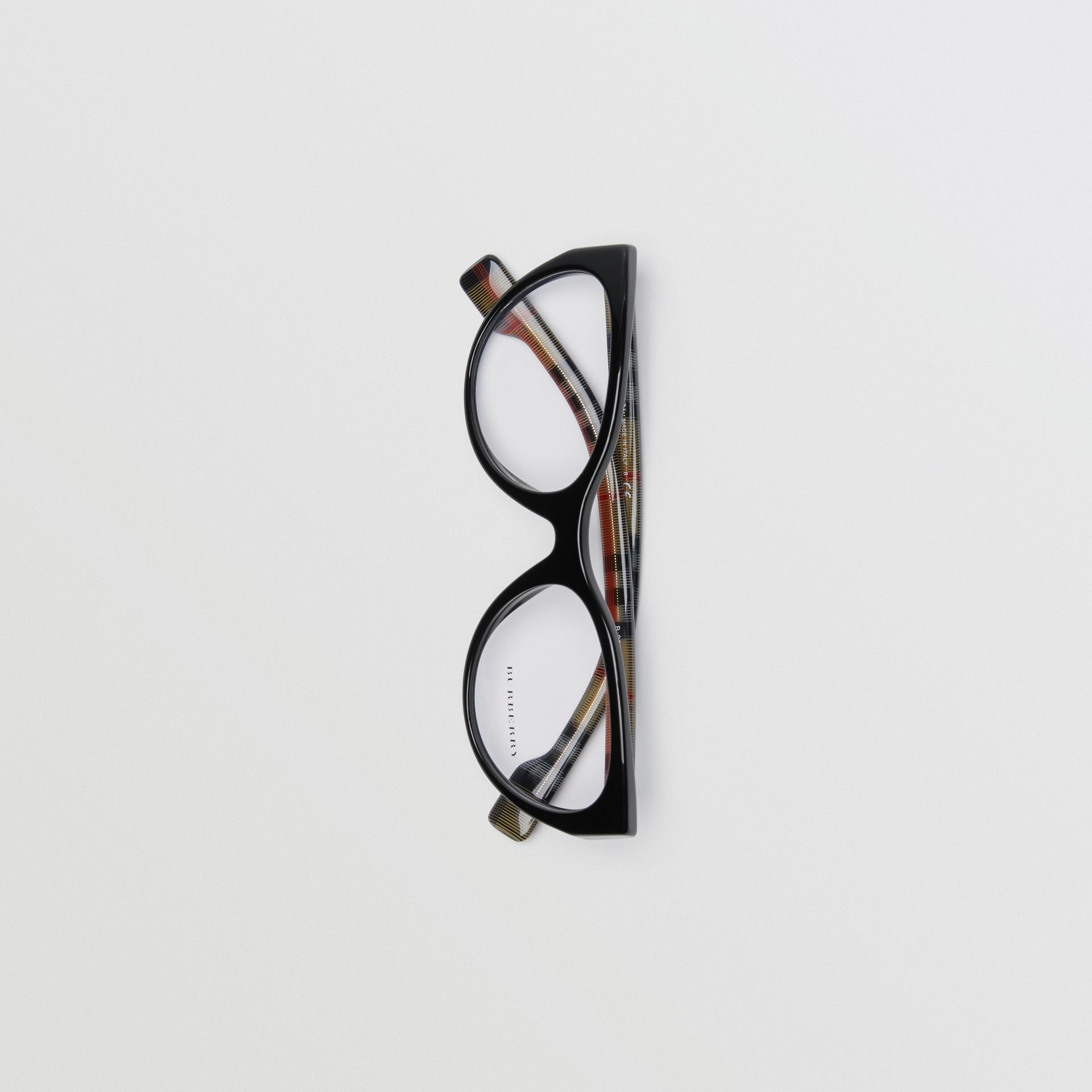 Vintage Check Detail Cat-eye Optical Frames in Black - Women | Burberry Hong Kong - gallery image 3