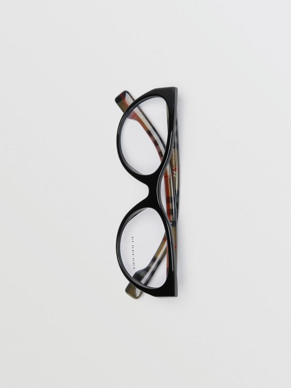Vintage Check Detail Cat-eye Optical Frames in Black - Women | Burberry Hong Kong - cell image 3