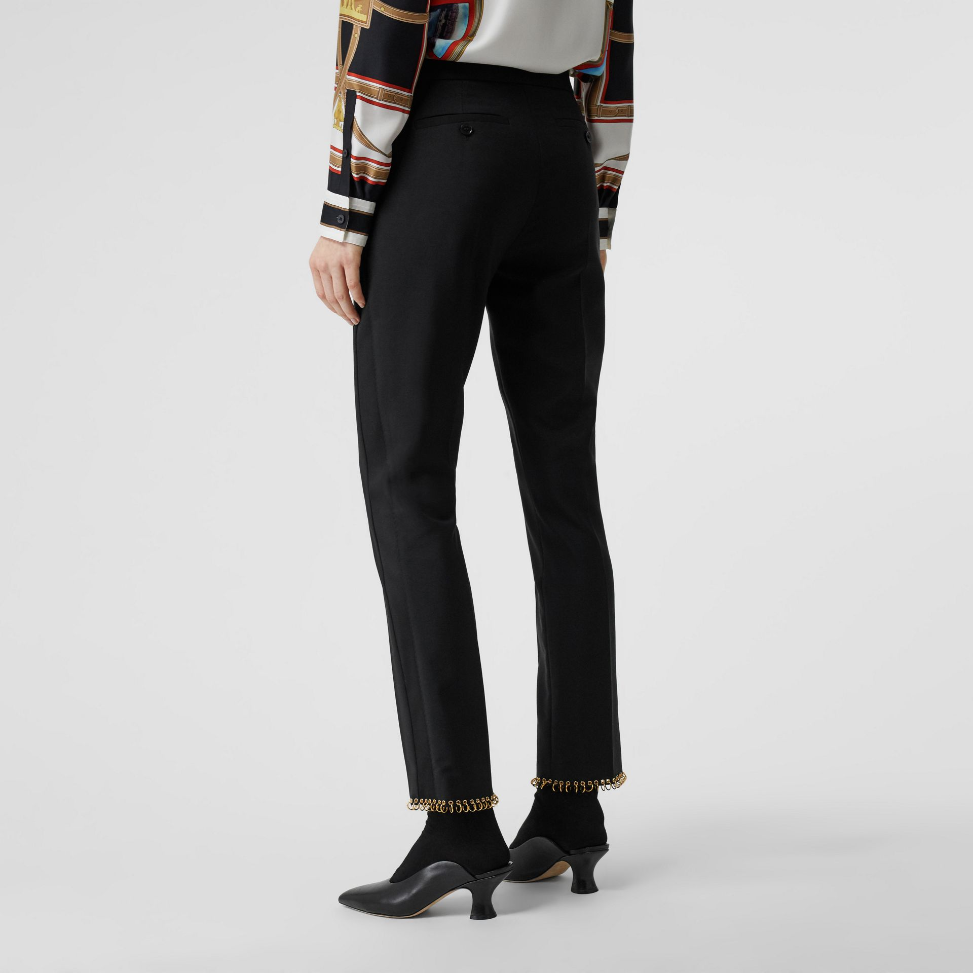 Ring-pierced Wool Tailored Trousers in Black - Women | Burberry Hong Kong - gallery image 2