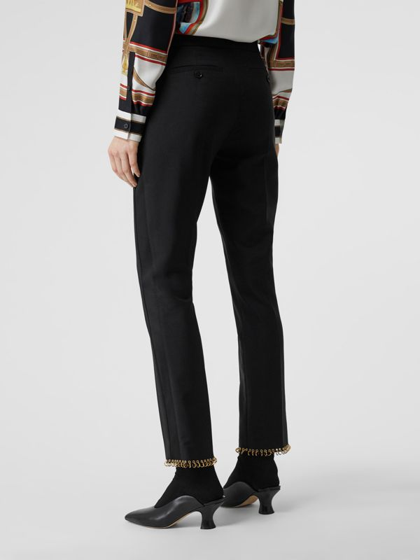 Ring-pierced Wool Tailored Trousers in Black - Women | Burberry - cell image 2