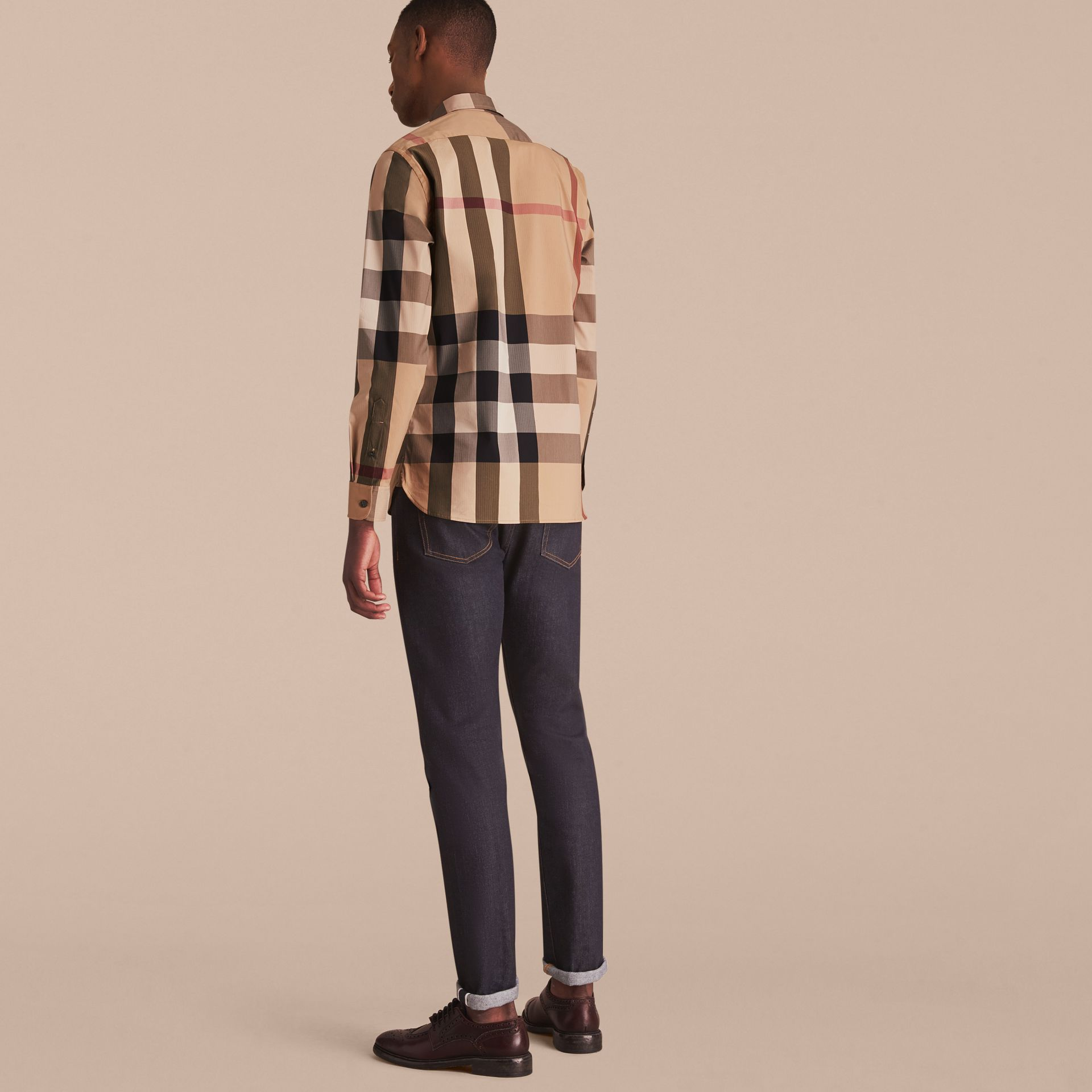 Button-down Collar Check Stretch Cotton Blend Shirt Camel - gallery image 3