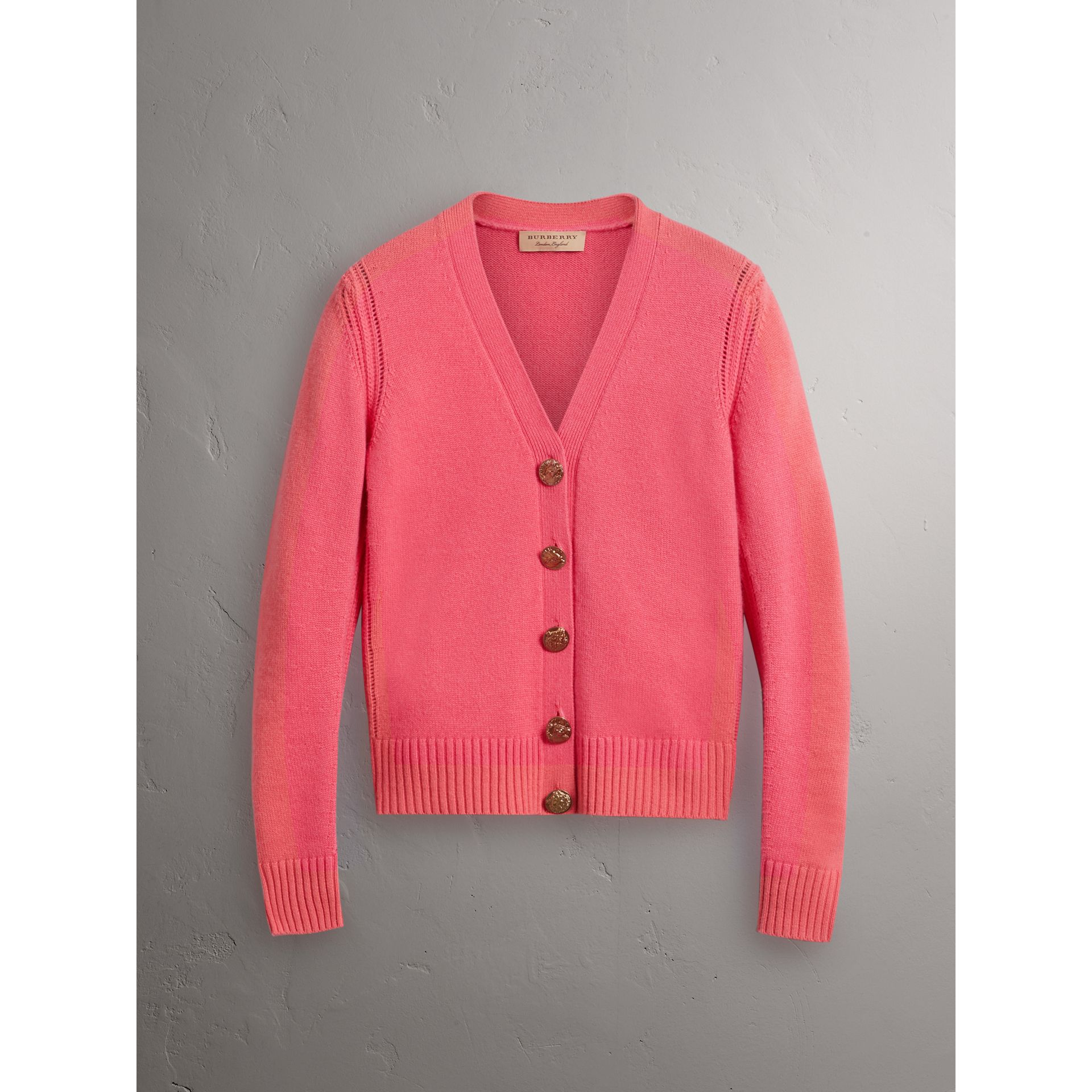 Bird Button Cashmere Cardigan in Rose Pink - Women | Burberry Canada - gallery image 3