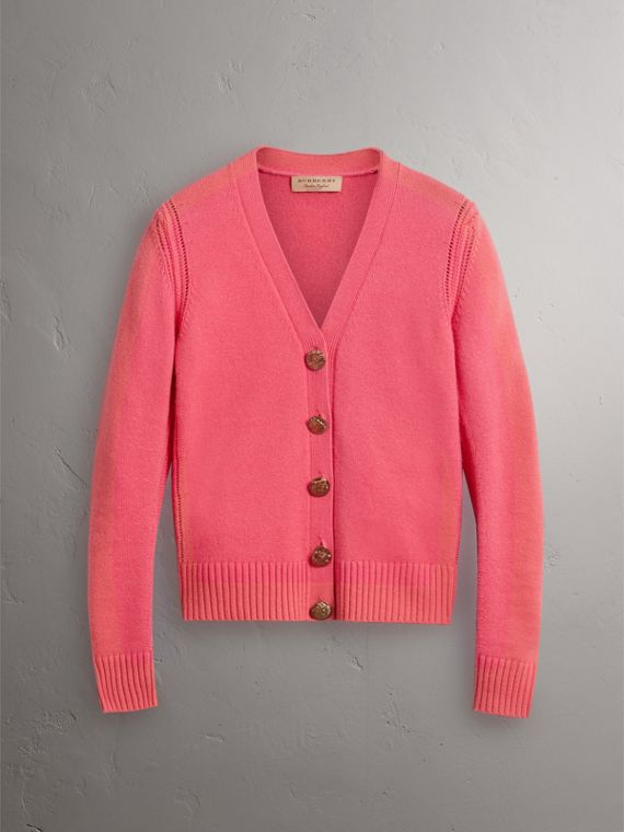 Bird Button Cashmere Cardigan in Rose Pink - Women | Burberry Hong Kong - cell image 3
