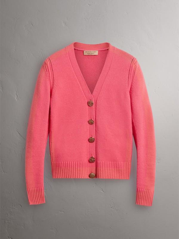 Cardigã de cashmere com botões com emblema de pássaro (Rosa Pink) - Mulheres | Burberry - cell image 3