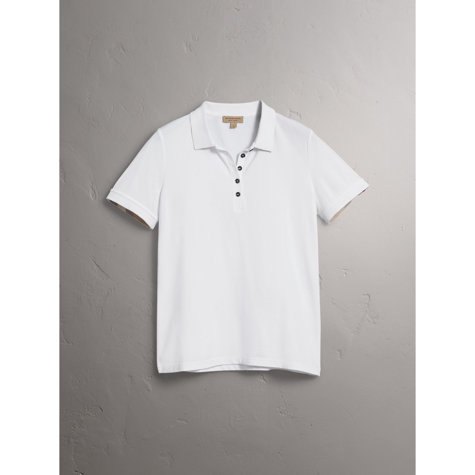 Check Trim Stretch Cotton Piqué Polo Shirt in White - Women | Burberry United States - gallery image 3