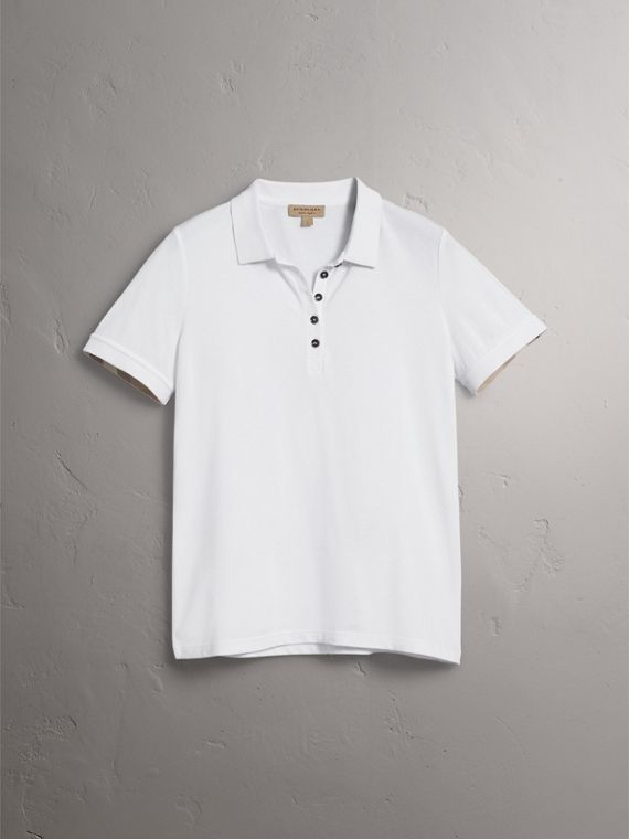 Check Trim Stretch Cotton Piqué Polo Shirt in White - Women | Burberry United States - cell image 3