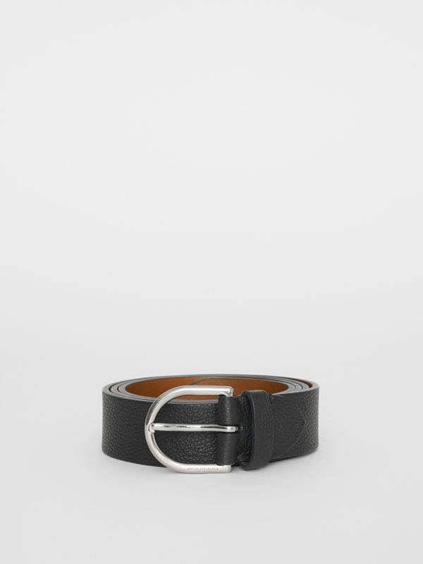 D-shaped Buckle Grainy Leather Belt in Black - Men | Burberry Singapore - cell image 3