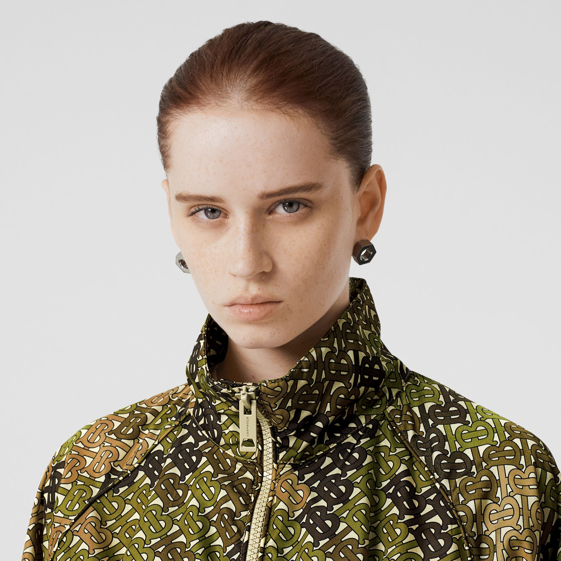 Monogram Print Nylon Funnel Neck Jacket in Khaki Green - Women | Burberry - gallery image 1