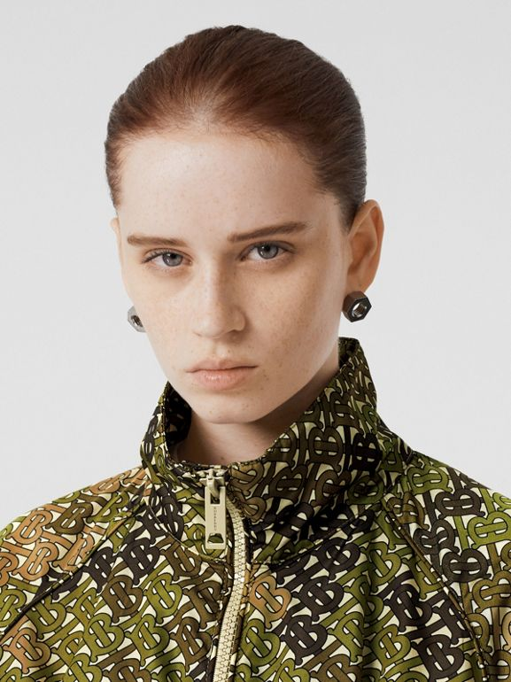 Monogram Print Nylon Funnel Neck Jacket in Khaki Green - Women | Burberry - cell image 1